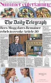 The Daily Telegraph (UK) Newspaper Front Page for 27 July 2019