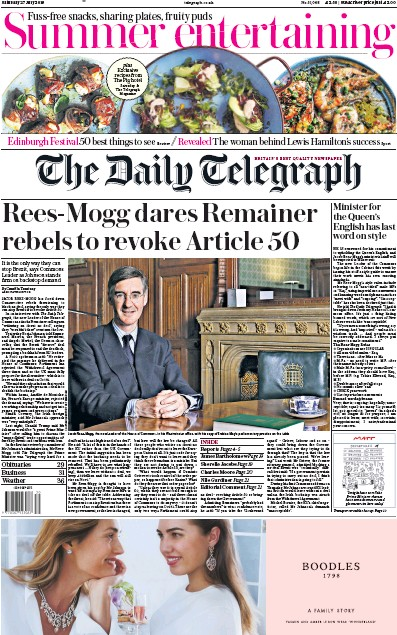 The Daily Telegraph Newspaper Front Page (UK) for 27 July 2019