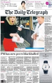 The Daily Telegraph (UK) Newspaper Front Page for 27 August 2015