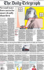 The Daily Telegraph front page for 28 October 2020