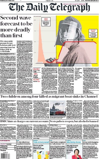 The Daily Telegraph Newspaper Front Page (UK) for 28 October 2020