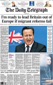 The Daily Telegraph (UK) Newspaper Front Page for 28 November 2014