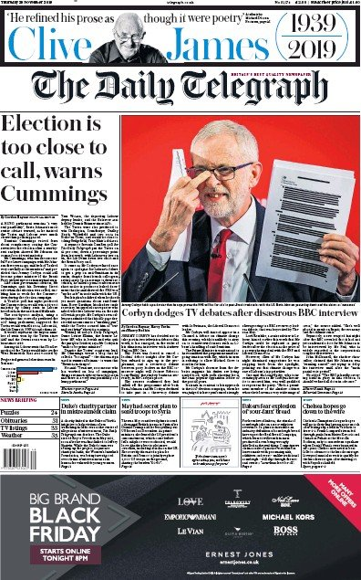 The Daily Telegraph Newspaper Front Page (UK) for 28 November 2019