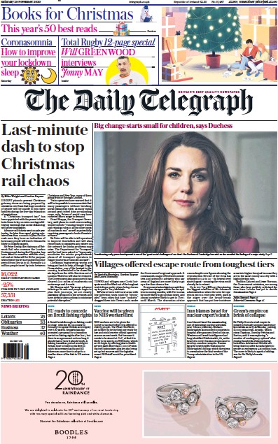 The Daily Telegraph Newspaper Front Page (UK) for 28 November 2020