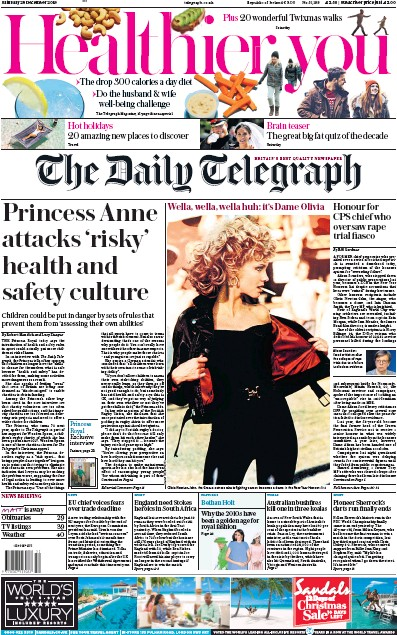 The Daily Telegraph Newspaper Front Page (UK) for 28 December 2019