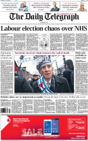 The Daily Telegraph (UK) Newspaper Front Page for 28 January 2015
