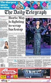 The Daily Telegraph (UK) Newspaper Front Page for 28 January 2019