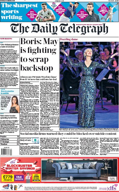 The Daily Telegraph Newspaper Front Page (UK) for 28 January 2019