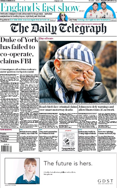 The Daily Telegraph Newspaper Front Page (UK) for 28 January 2020