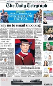 The Daily Telegraph (UK) Newspaper Front Page for 28 February 2015