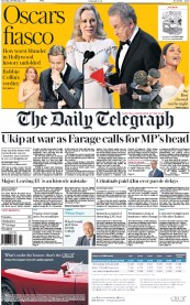 The Daily Telegraph (UK) Newspaper Front Page for 28 February 2017