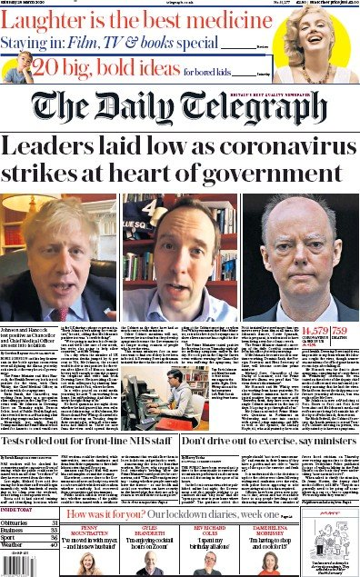 The Daily Telegraph Newspaper Front Page (UK) for 28 March 2020