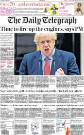 The Daily Telegraph (UK) Newspaper Front Page for 28 April 2020
