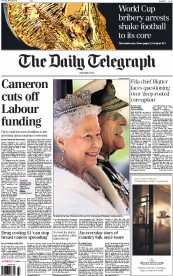 The Daily Telegraph (UK) Newspaper Front Page for 28 May 2015