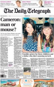 The Daily Telegraph Newspaper Front Page (UK) for 28 August 2012