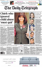 The Daily Telegraph (UK) Newspaper Front Page for 28 August 2014