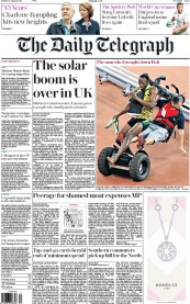The Daily Telegraph (UK) Newspaper Front Page for 28 August 2015