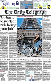 The Daily Telegraph (UK) Newspaper Front Page for 28 August 2020