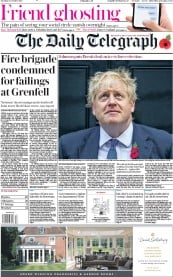 The Daily Telegraph (UK) Newspaper Front Page for 29 October 2019
