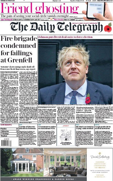 The Daily Telegraph Newspaper Front Page (UK) for 29 October 2019