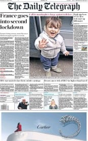 The Daily Telegraph (UK) Newspaper Front Page for 29 October 2020