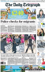The Daily Telegraph (UK) Newspaper Front Page for 29 November 2014