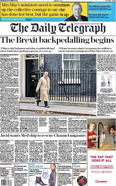 The Daily Telegraph Newspaper Front Page (UK) for 29 November 2018