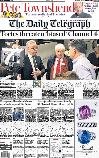 The Daily Telegraph Newspaper Front Page (UK) for 29 November 2019
