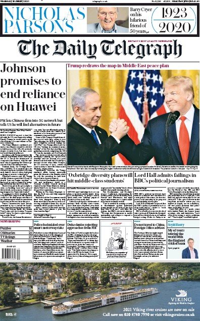 The Daily Telegraph Newspaper Front Page (UK) for 29 January 2020