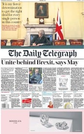 The Daily Telegraph (UK) Newspaper Front Page for 29 March 2017