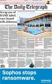 The Daily Telegraph front page for 29 March 2021