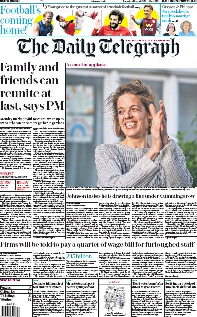 The Daily Telegraph Newspaper Front Page (UK) for 29 May 2020
