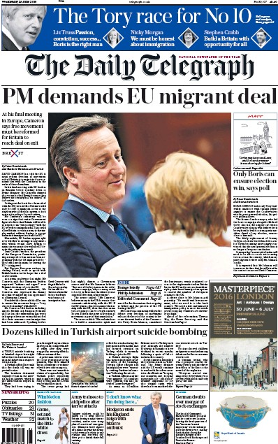 The Daily Telegraph Newspaper Front Page (UK) for 29 June 2016