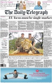 The Daily Telegraph (UK) Newspaper Front Page for 29 July 2015