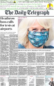 The Daily Telegraph front page for 29 July 2020