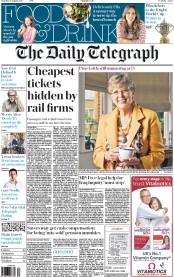 The Daily Telegraph (UK) Newspaper Front Page for 29 August 2015