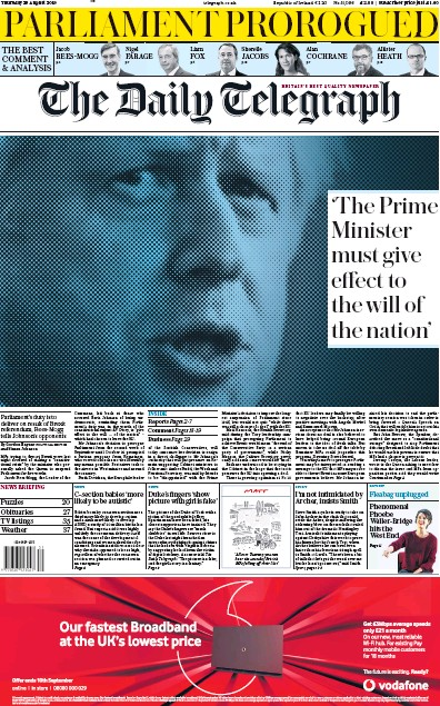 The Daily Telegraph Newspaper Front Page (UK) for 29 August 2019