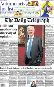 The Daily Telegraph (UK) Newspaper Front Page for 29 August 2020