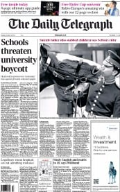 The Daily Telegraph Newspaper Front Page (UK) for 2 October 2012