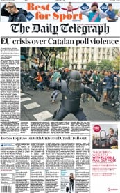 The Daily Telegraph (UK) Newspaper Front Page for 2 October 2017