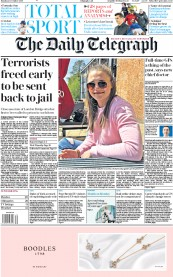 The Daily Telegraph () Newspaper Front Page for 2 December 2019