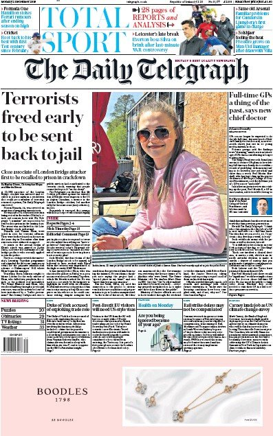 The Daily Telegraph Newspaper Front Page (UK) for 2 December 2019