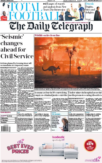 The Daily Telegraph Newspaper Front Page (UK) for 2 January 2020