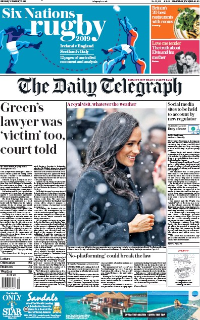 The Daily Telegraph Newspaper Front Page (UK) for 2 February 2019