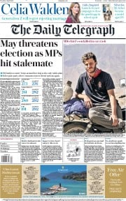 The Daily Telegraph (UK) Newspaper Front Page for 2 April 2019