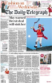 The Daily Telegraph (UK) Newspaper Front Page for 2 May 2018