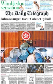 The Daily Telegraph (UK) Newspaper Front Page for 2 July 2019