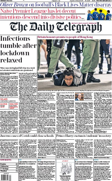 The Daily Telegraph Newspaper Front Page (UK) for 2 July 2020