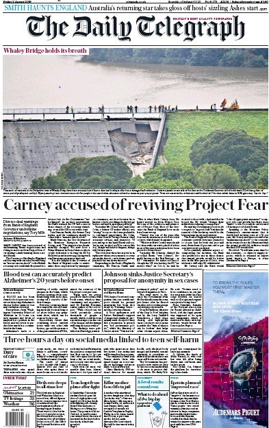 The Daily Telegraph Newspaper Front Page (UK) for 2 August 2019