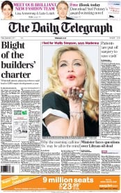The Daily Telegraph (UK) Newspaper Front Page for 2 September 2011